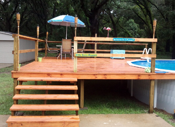 deck against pool deck against above ground pool - Intex Above Ground Pool Decks