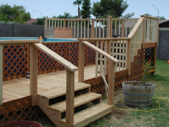 wooden deck ideas for above ground pool | Above Ground Pool Decks